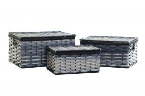 CESTA SET 3 PVC METAL 40X28X21 AZUL