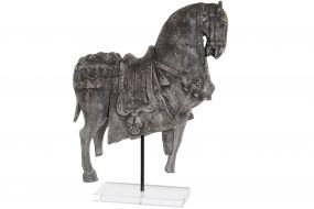 FIGURE RESIN ACRYLIC 33X14X50 HORSE AGED GREY