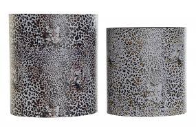 PAPER BIN SET 2 CANVAS WOOD 31,5X22,5X35,3 ANIMAL