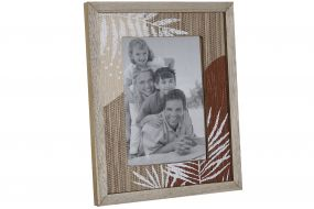 PHOTO FRAME MDF 21X26,5X1,8 10X15 LEAVES NATURAL