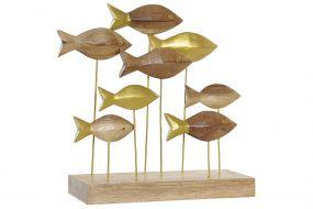FIGURE ACACIA METAL 28X10X27 FISHES NATURAL BROWN