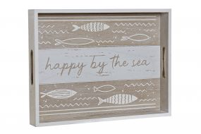 DECORATION TRAY MDF 40X30X5 FISHES NATURAL