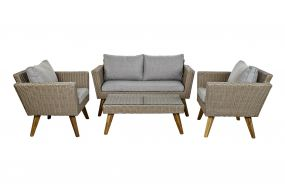 TABLE SET 4 SYNTHETIC RATTAN 137X66X70,5 5 MM. EXT
