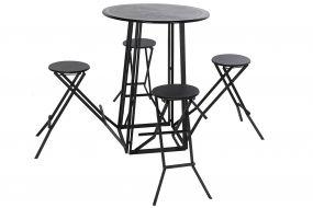 TABLE SET 4 METAL 185X185X103 BLACK