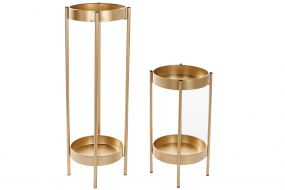 AUXILIARY TABLE SET 2 METAL 29X29X80 GOLDEN