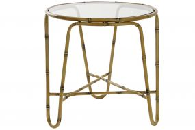 AUXILIARY TABLE METAL GLASS 51X51X52 BROWN