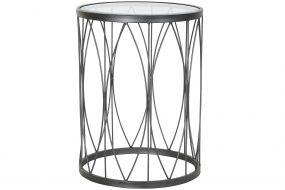 AUXILIARY TABLE IRON GLASS 45X45X60 BLACK