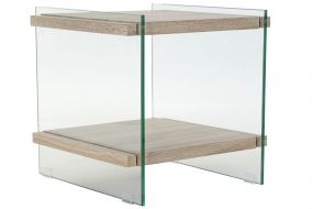BEDSIDE TABLE GLASS MDF 50X50X49 12MM TEMPERED