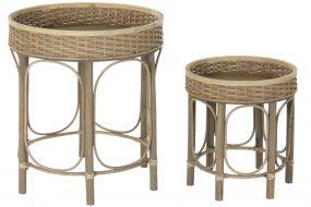 AUXILIARY TABLE SET 2 RATTAN 49X49X55 35X39