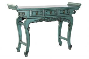 CONSOLE TABLE ELM METAL 135X37X89 3 DRAWERS