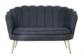 COUCH POLYESTER METAL 130X77X83 BLUE
