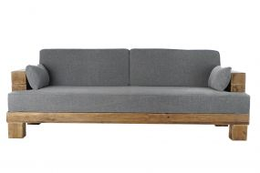 COUCH RECICLED WOOD POLYESTER 224X105X82 GREY