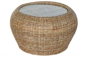 COFFEE TABLE RATTAN GLASS 82X82X48 NATURAL NATURAL