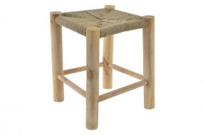 FOOTREST WOOD ROPE 31X31X38,5