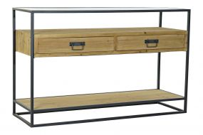 CONSOLE TABLE SPRUCE GLASS 120X40X76 LIGHT BROWN