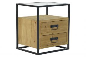 BEDSIDE TABLE SPRUCE GLASS 45X38X51 NATURAL