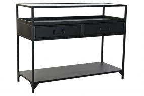 CONSOLE TABLE METAL GLASS 100X40X76 BLACK