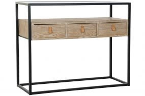 CONSOLE TABLE WOOD METAL 100X38X80 NATURAL
