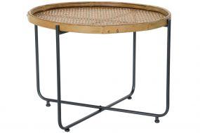 AUXILIARY TABLE RATTAN METAL 63X63X46 BLACK