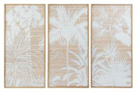 PICTURE SET 3 WOOD BAMBOO 58X4X120 PALMS NATURAL