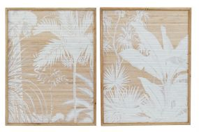 PICTURE SET 2 WOOD BAMBOO 60X4X80 PALMS NATURAL
