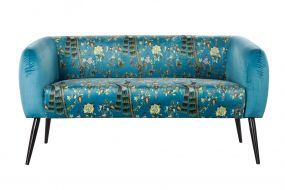 COUCH POLYESTER METAL 140X71X71 PEACOCK DARK GREEN