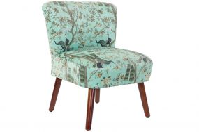 CHAIR POLYESTER WOOD 60X60X77 PEACOCK GREEN