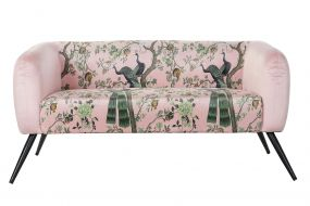COUCH POLYESTER METAL 140X71X71 PEACOCK PINK
