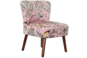 CHAIR POLYESTER WOOD 61X60X77 PEACOCK PINK