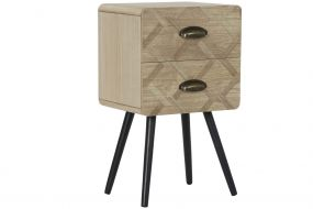 BEDSIDE TABLE MDF 37X30X65 2 DRAWERS NATURAL