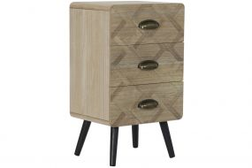 BEDSIDE TABLE MDF 37X30X65 3 DRAWERS NATURAL