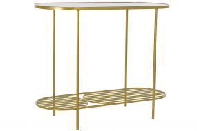 CONSOLE TABLE IRON GLASS 99,5X38X80 GOLDEN