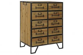CHEST OF DRAWERS MDF METAL 61X38X81 NATURAL