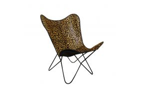 CHAIR METAL LEATHER 68X70X93 LEOPARD