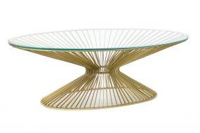 COFFEE TABLE STEEL GLASS 138X66X46 GOLDEN