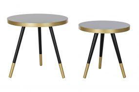 COFFEE TABLE SET 2 MDF RUBBER 40X40X42 48X41 BLACK