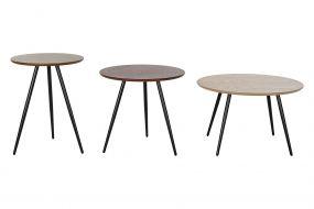 COFFEE TABLE SET 3 MDF 60X60X38 48X45 / 40X53