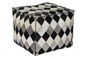POUF LEATHER POLYESTER 45X45X40 ROMOS BROWN