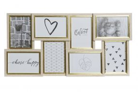 MULTIPHOTOS FRAME WOOD 57X3X28,5 LEAVES WHITE