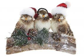 FIGURE POREXPAN WOOD 21X9X14 LITTLE BIRDS NATURAL
