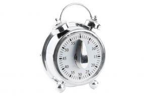 TIMER ABS 8,5X4,5X11 CLOCK CHROMED SILVER