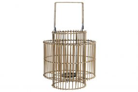 CANDLE HOLDER BAMBOO METAL 30X30X32 47 NATURAL