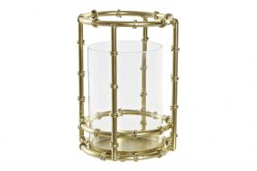 CANDLE HOLDER METAL GLASS 11X10X15 A CANDLE GOLDEN