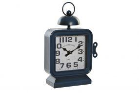TABLE CLOCK IRON 19X8X28 BLUE