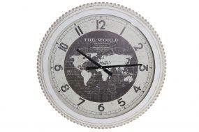 WALL CLOCK IRON GLASS 60X6X60 WORLD MAP NATURAL