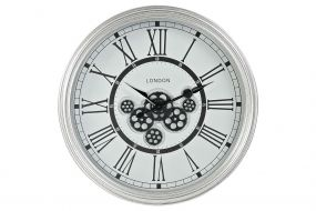 WALL CLOCK IRON GLASS 60X10X60 MOVEMENT SILVER