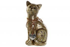 FIGURE RESIN MIRROR 11X7X21 CAT GOLDEN