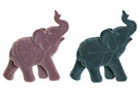 FIGURE RESIN 20,5X9X21,5 ELEPHANT FLOCKING 2 MOD.