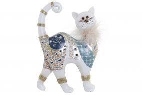 FIGURE RESIN 16X6X23 CAT WHITE