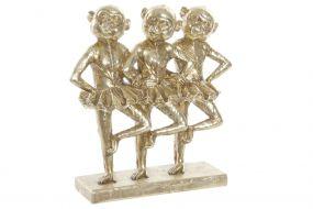 FIGURE RESIN 23X9,5X24 DANCING MONKEYS GOLDEN